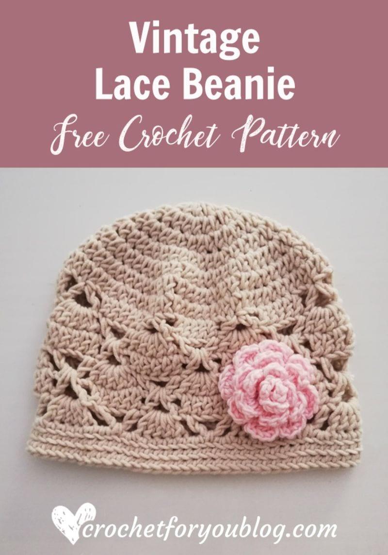 Vintage Lace Beanie Free Crochet Pattern