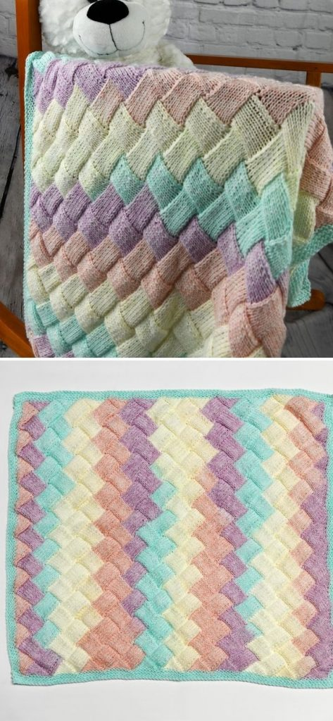 Pastel Entrelac Baby Blanket