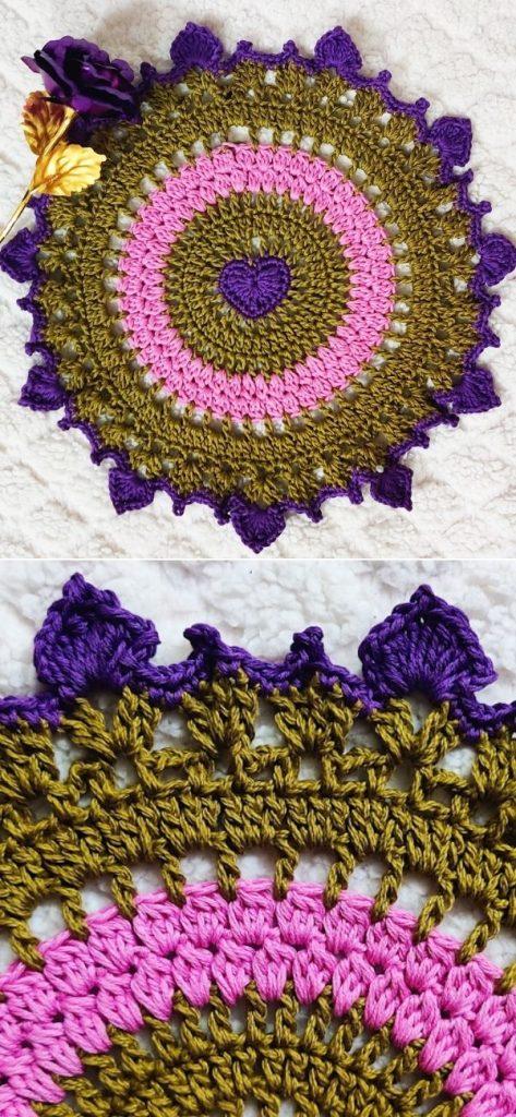 Sweet Purple Heart Doily