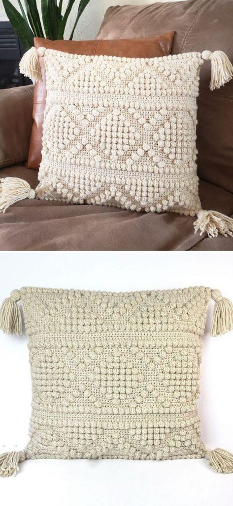 Modern Boho Crochet Pillow Cover