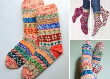 Amazing Colorful Knitted Socks Free Knitting Pattern
