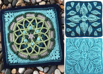 Beautiful 12 Crochet Afghan Blocks