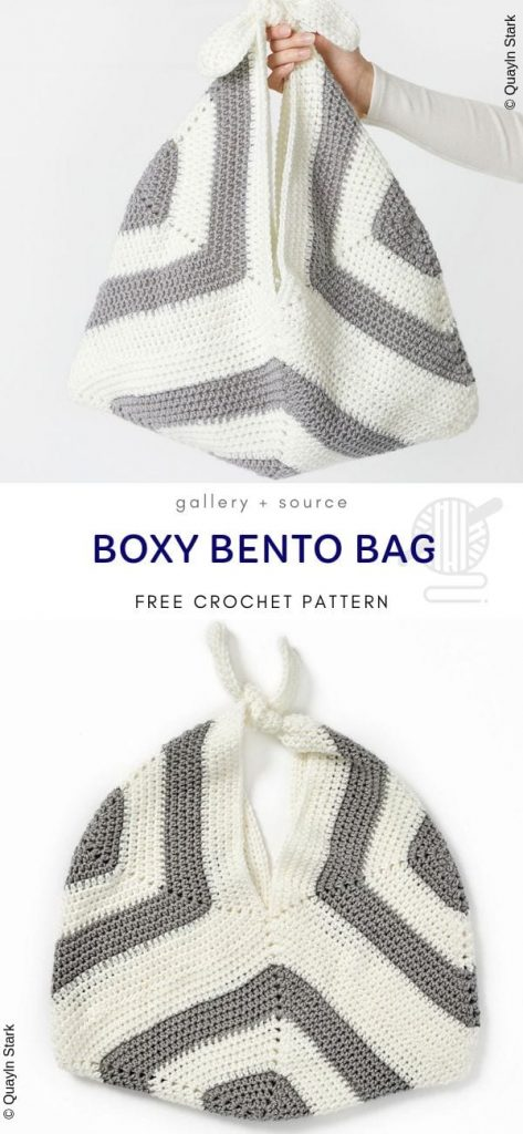 Bolsa Boxy Bento padrão de crochê livre 1