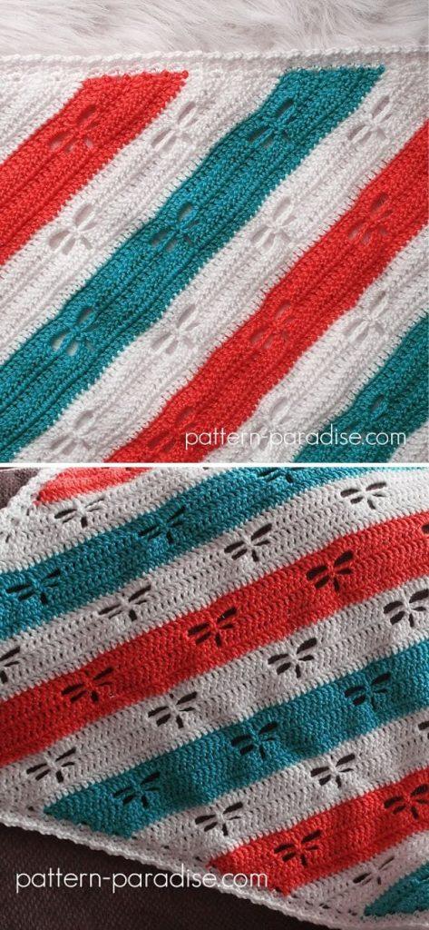 Dragonfly C2C Throw free crochet pattern 1