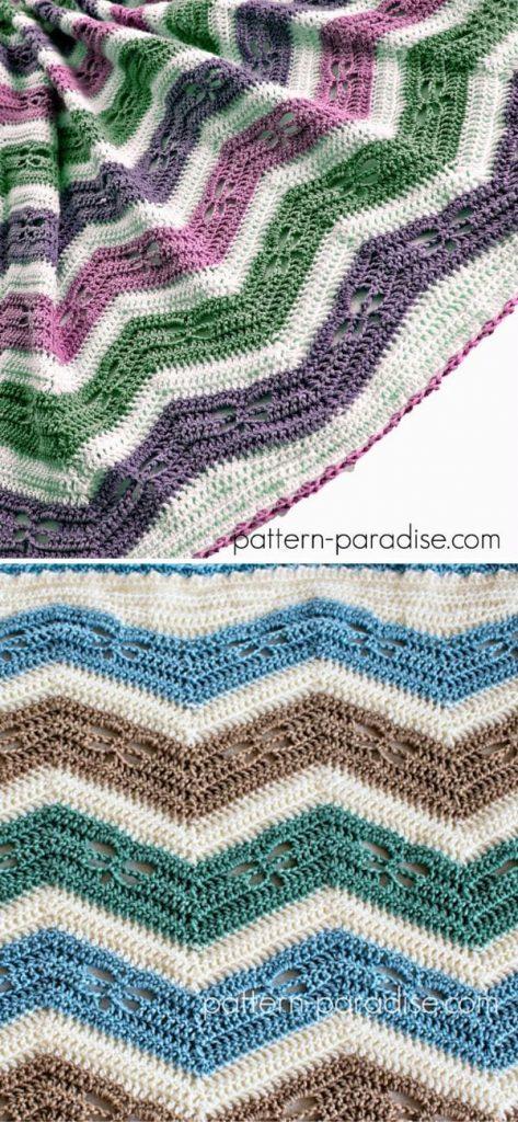 Dragonfly Chevron Blanket free crochet pattern 1