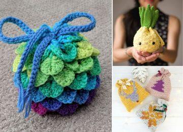 Easy Crochet Drawstring Bags