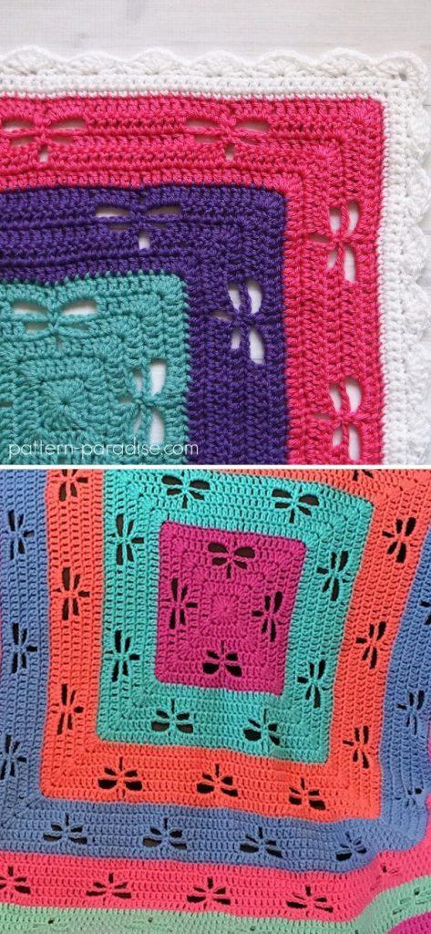 Radiating Dragonflies Throw free crochet pattern 1