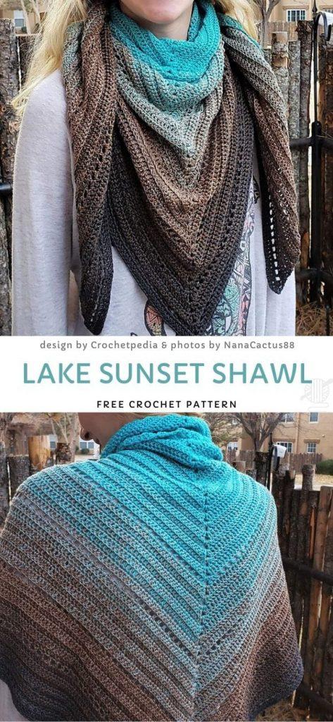 Simple V-Stitch Shawl Free Crochet Pattern