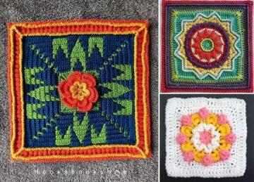 Stunning Flowery Crochet Afghan Squares