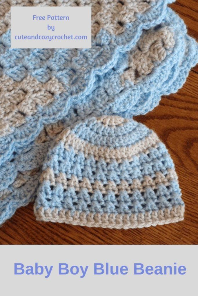Baby Boy Blue Beanie Free Crochet Pattern