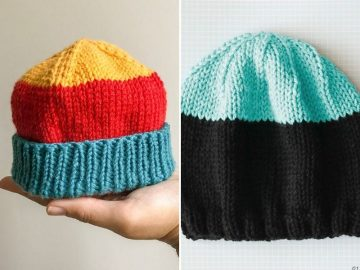 Knitted Color-Block Baby Beanies