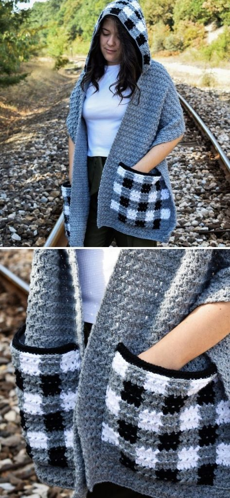 Checkmate pocket scarf with hood