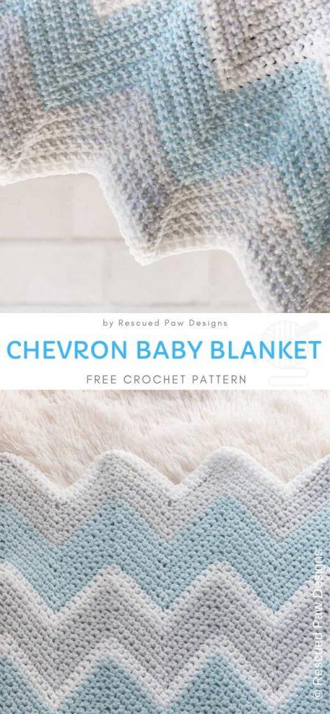 Blue and Grey Chevron Baby Blanket free crochet pattern 1