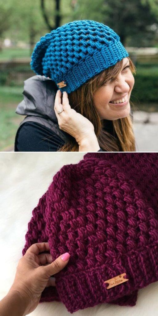 Helix Colorful Puff Stitch Hat Free Crochet Pattern