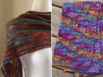 Knitted Drop Stitch Shawls 1