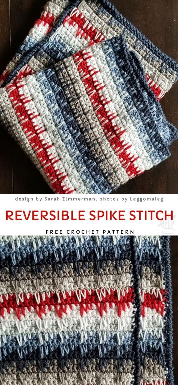 Reversible Spike Stitch Free Crochet Pattern