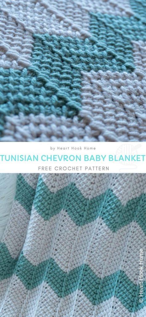 Tunisian Chevron Turquoise Baby Blanket free crochet pattern 1