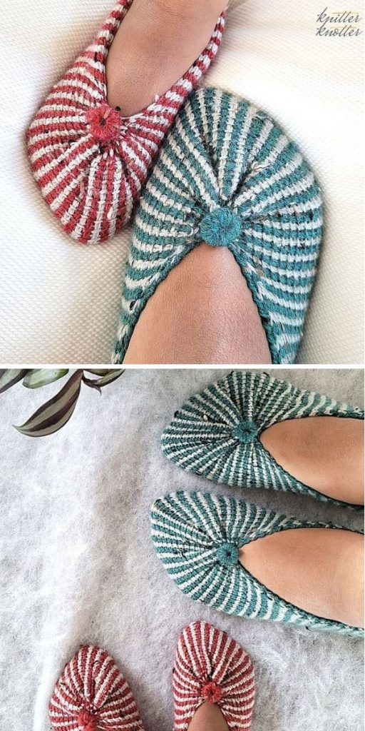 Tunisian Slippers from a Rectangle