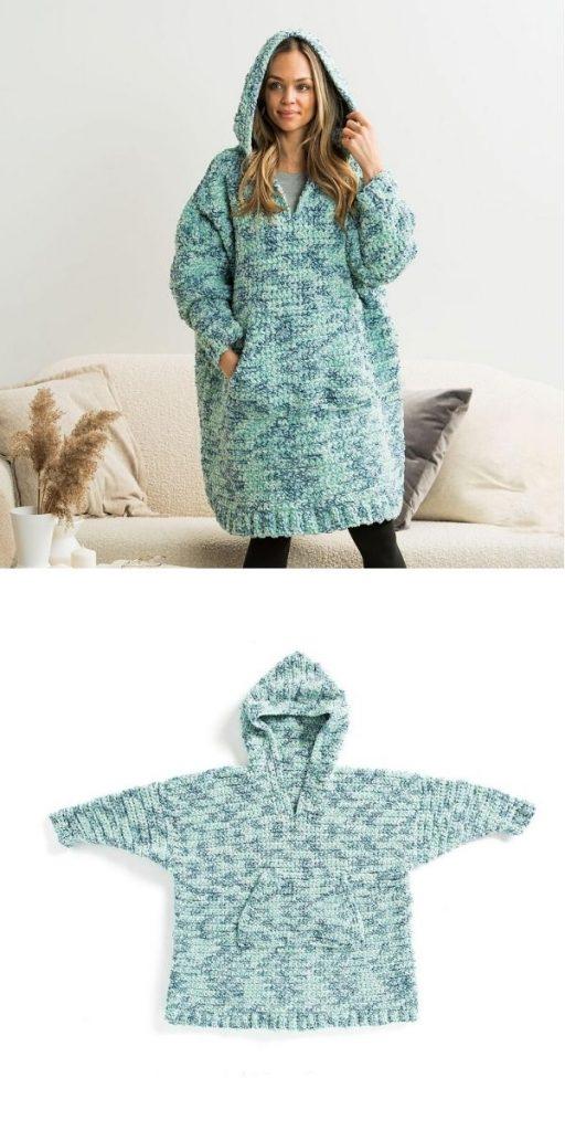Lounge Around Crochet Blanket Hoodie