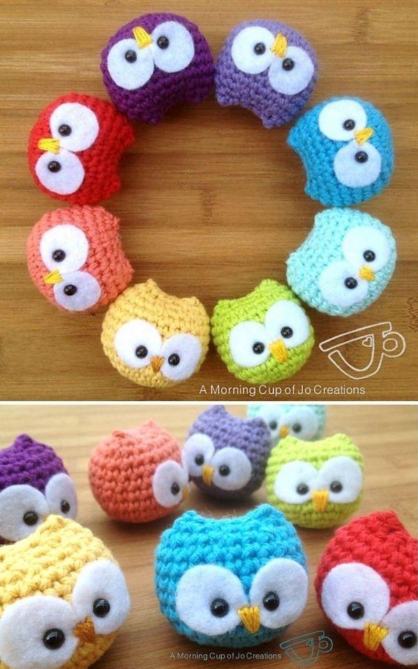 tiny crochet owls in rainbow colors