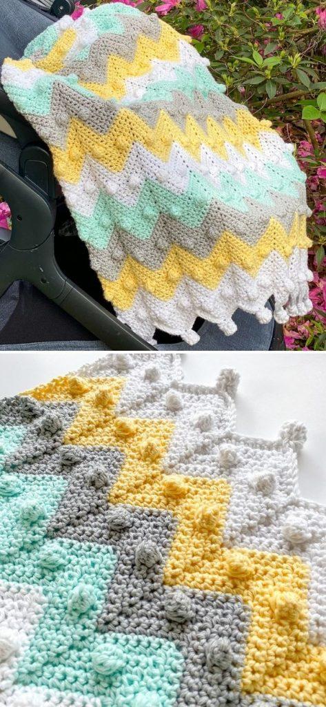 Bobble Chevron Baby Blanket