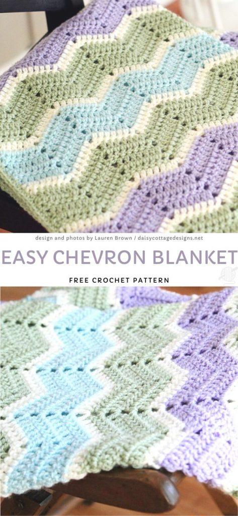 Easy Chevron BlanketFree Crochet Pattern
