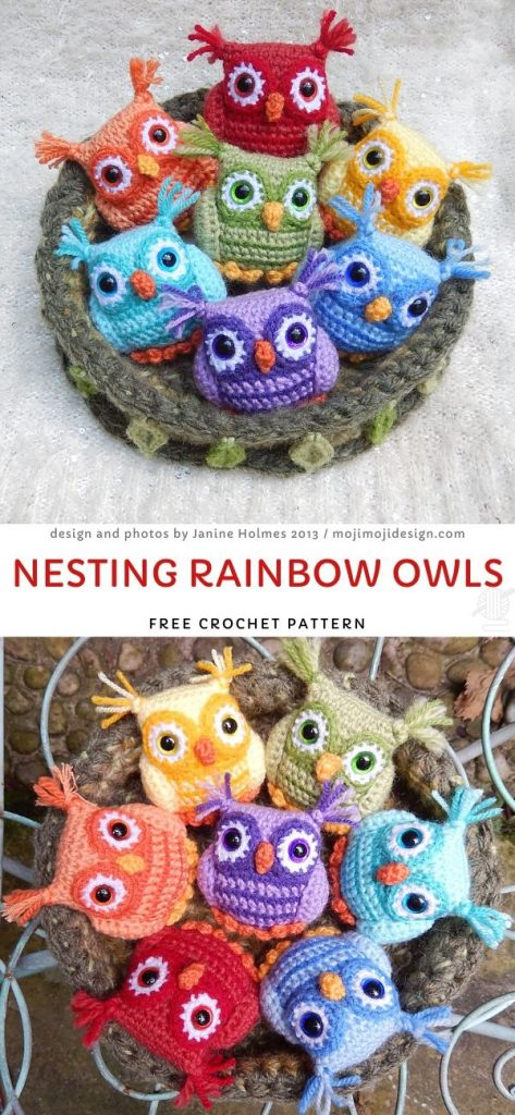 Nesting Rainbow OwlsFree Crochet Pattern
