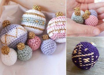 Plaid Ornament Baubles Free Crochet Pattern