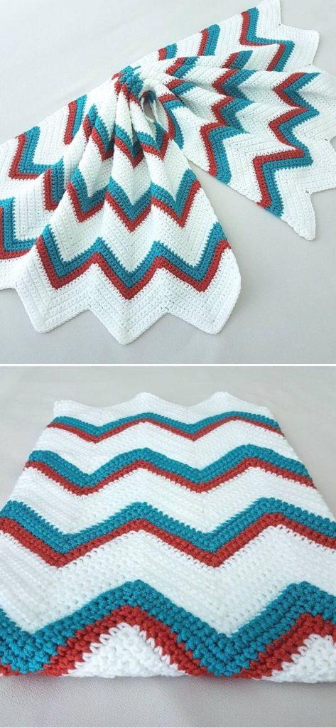 Single Crochet Chevron Blanket 2