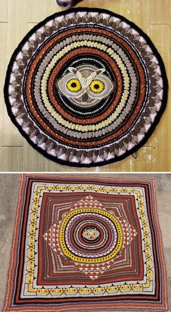 square blanket with owl face in the center