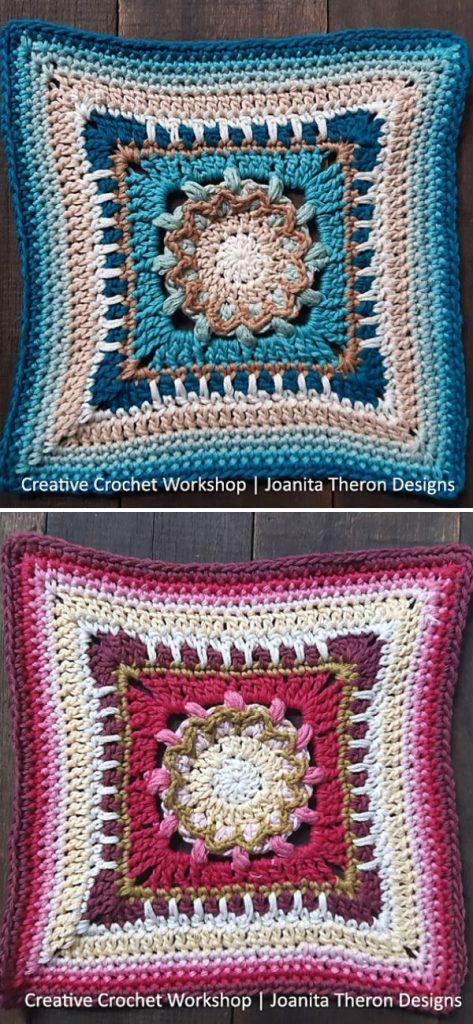 Puff Blossom Crochet Square