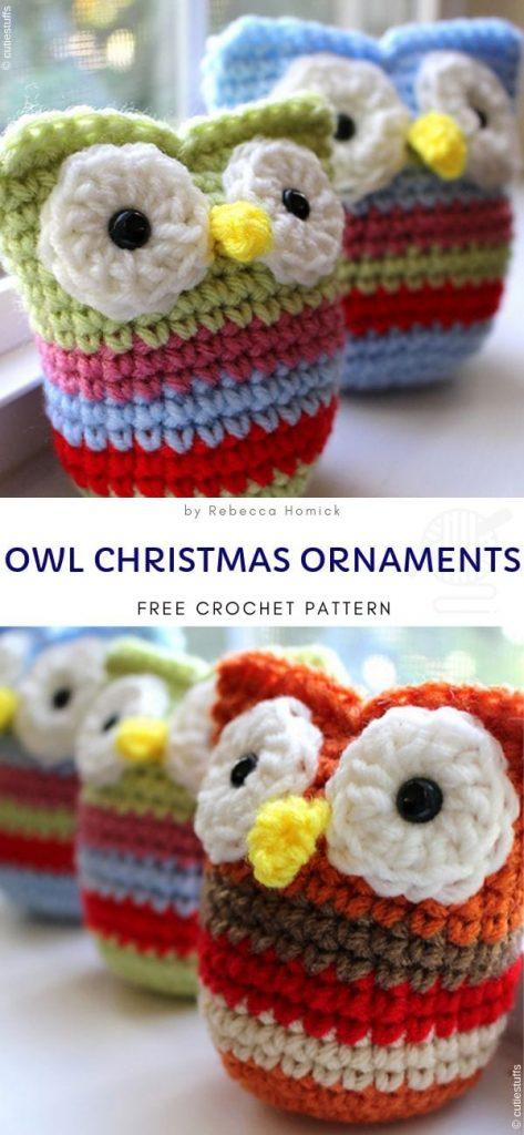 Owl Christmas Ornaments Free Crochet Pattern