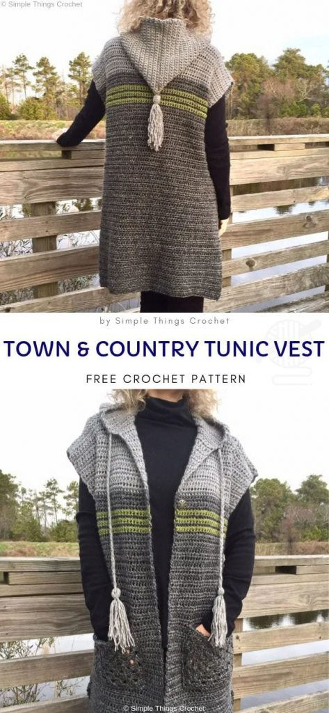 Town & Country Tunic Vest Free Crochet Pattern