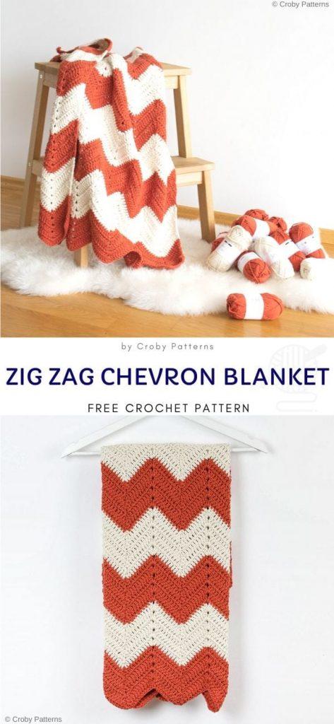 Zig Zag Chevron Blanket Free Crochet Pattern