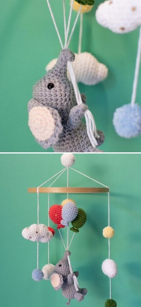 Elephant and balloons baby mobile pattern