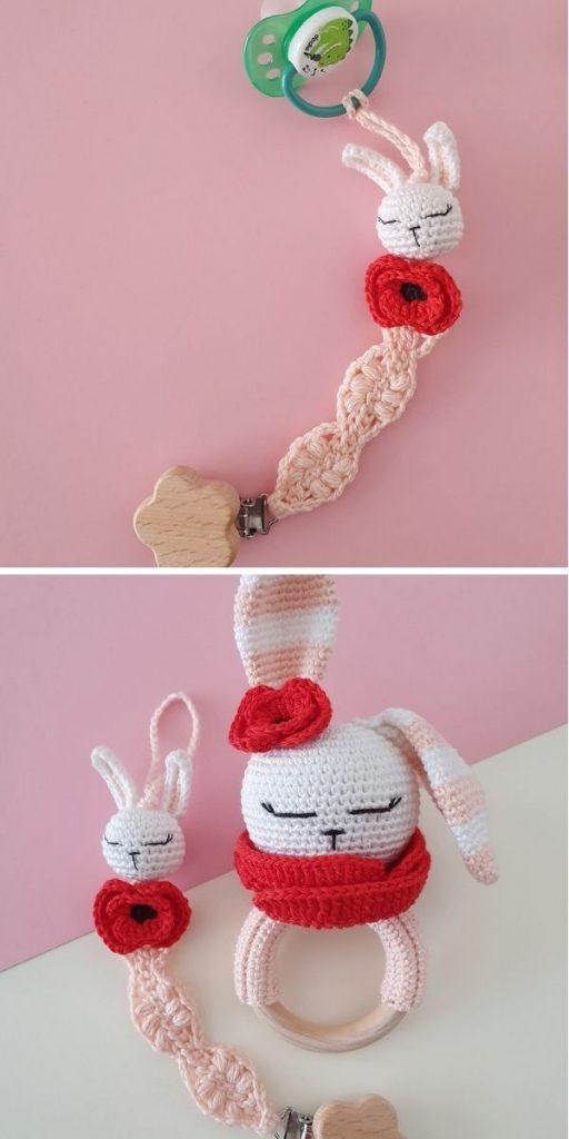 Poppy bunny pacifier clip