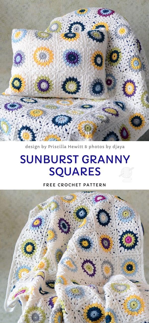 Sunburst Granny Squares Free Crochet Pattern