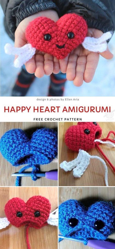 Happy Heart Amigurumi Free Crochet Pattern