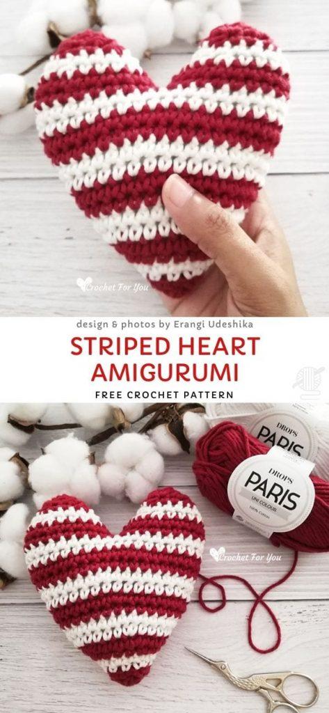 Striped Heart AmigurumiFree Crochet Pattern