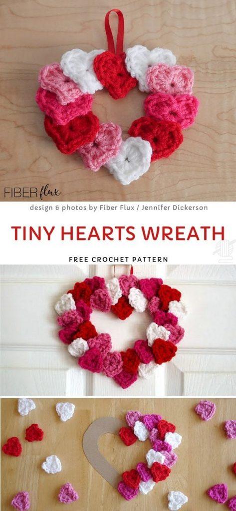 Tiny Hearts Wreath Free Crochet Pattern