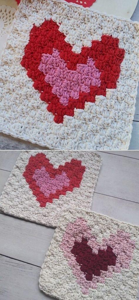 C2C Two Enamored Hearts Washcloth