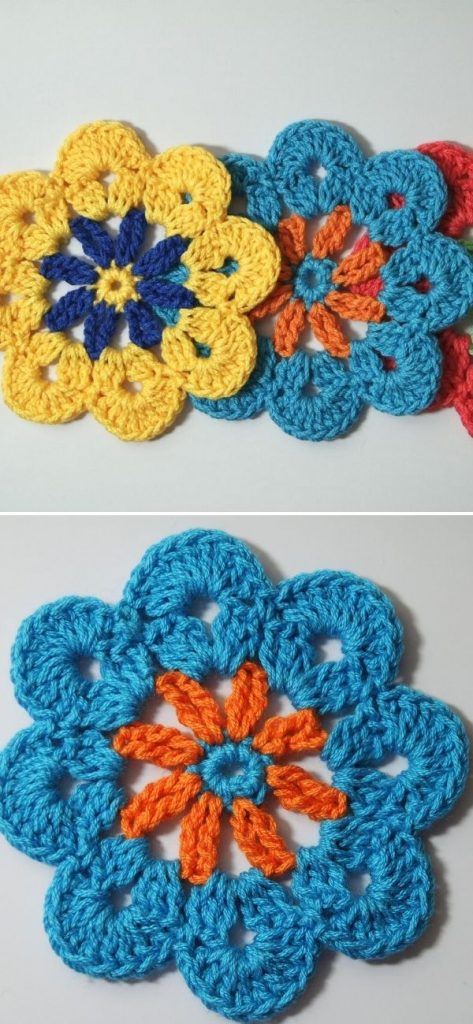 Colorful flower coaster
