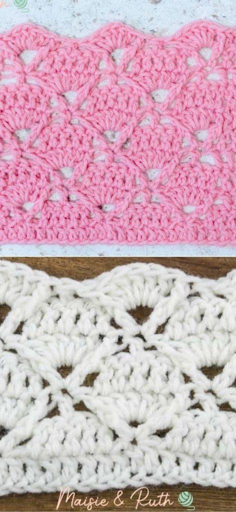 Crochet Diamond Trellis Stitch