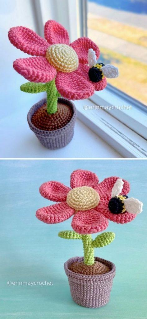 colorful amigurumi flower