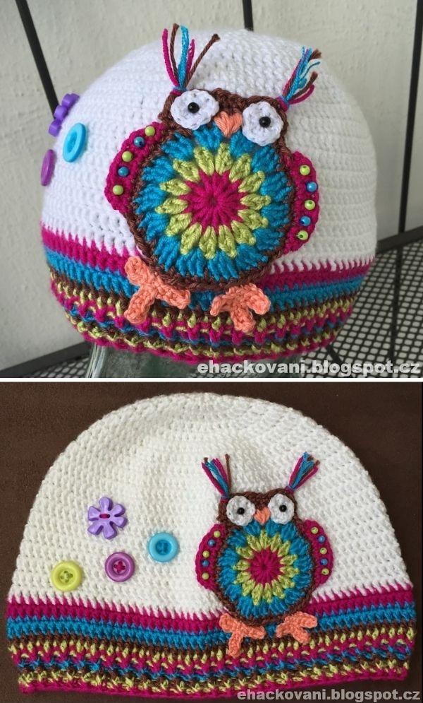 simple crochet hat with owl applique