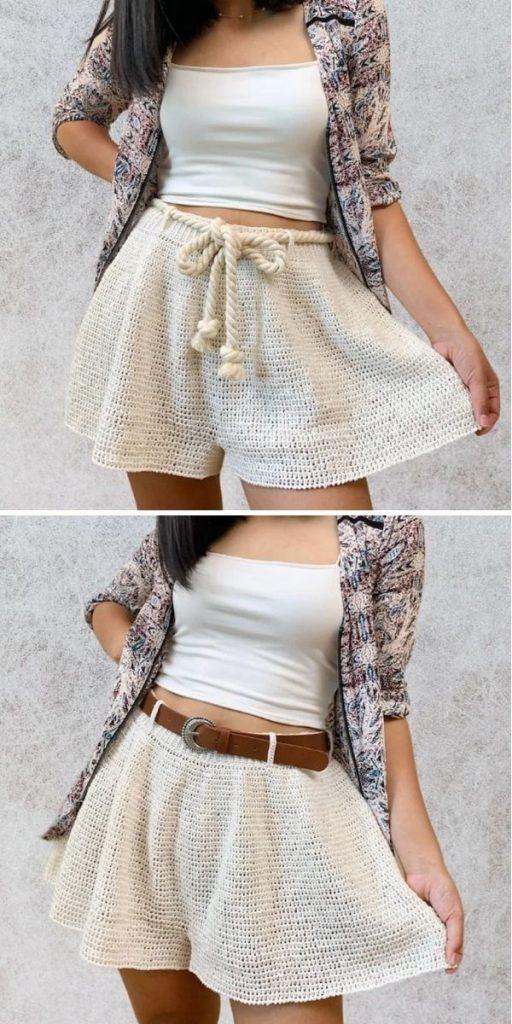 Wide leg Crochet shorts
