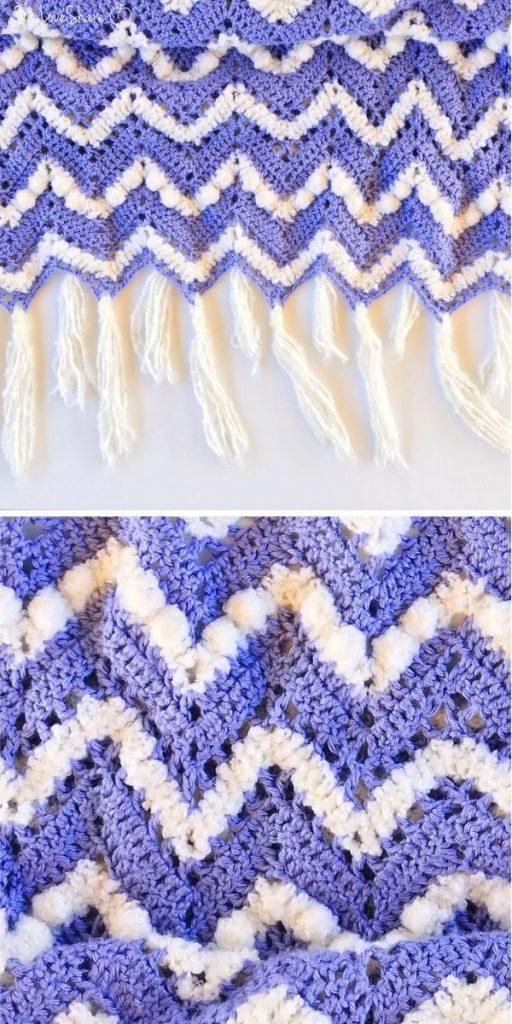Purple & Puff Chevron Blanket
